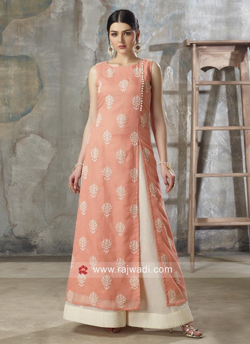 Peach Cotton Side Slit Palazzo Suit