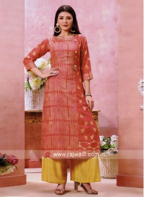 Peach Cotton Silk Kurti