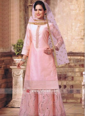 Peach Cotton Silk Palazzo Suit