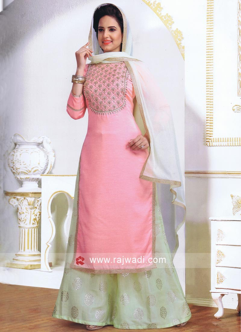 Peach Cotton Silk Palazzo Suits