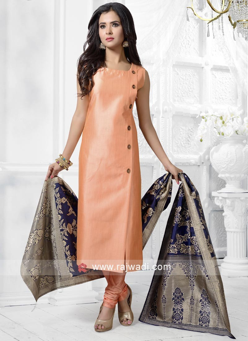 Peach Cotton Silk Salwar Kameez