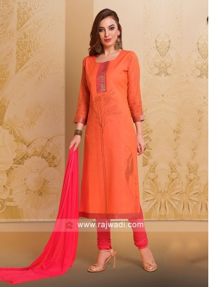 Peach Cotton Silk Salwar Suit