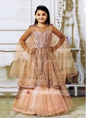 Peach Designer Kids Gown