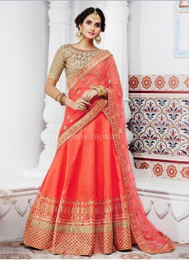 Peach Designer Lehenga Saree with Blouse