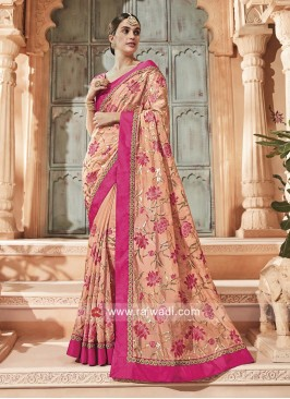 Peach Designer Saree with Blouse