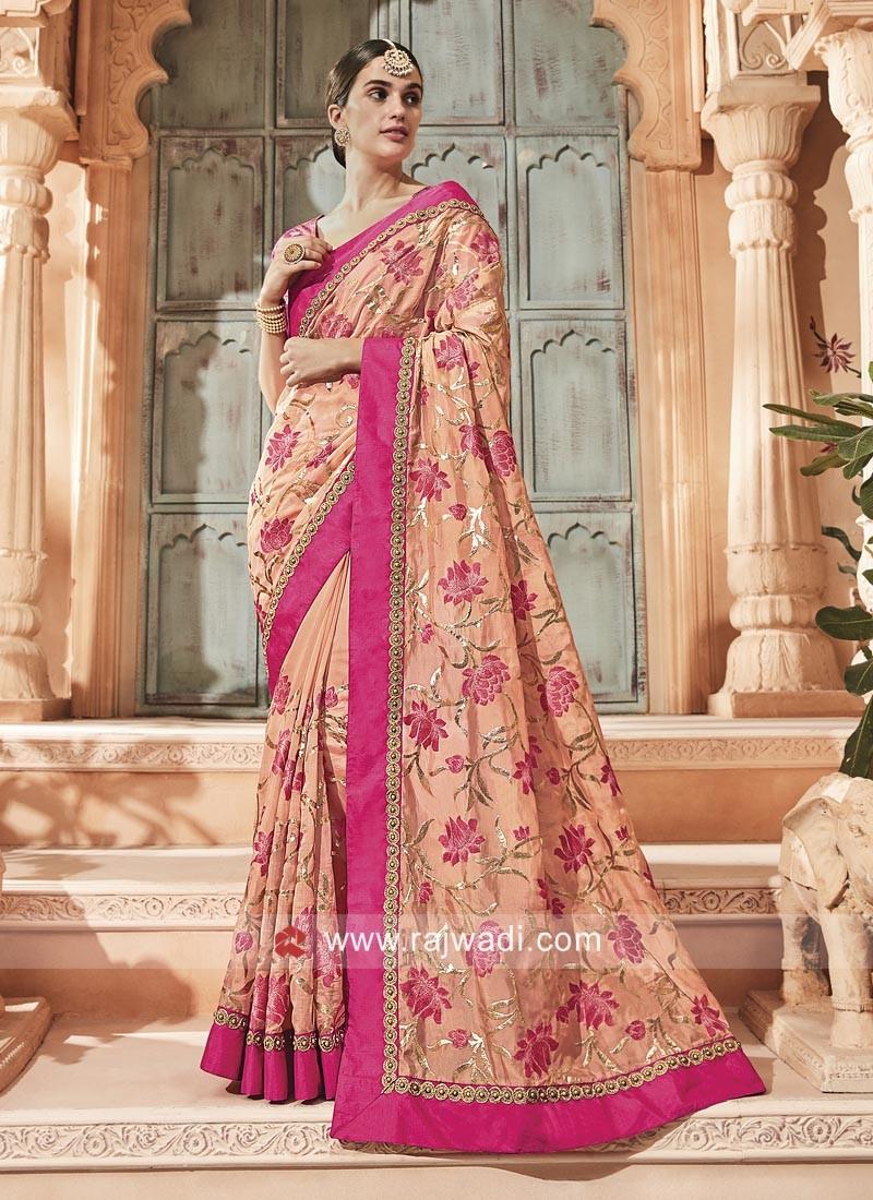 Peach Designer Saree with Blouse
