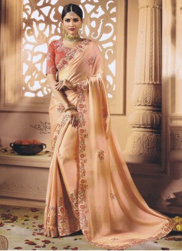 Peach Designer Sari with Blouse