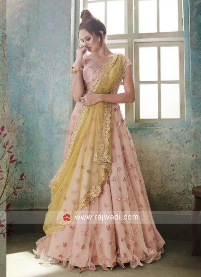 Peach Designer Wedding Lehenga Choli