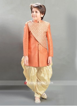 Peach Dhoti Style Indo Western for Kids