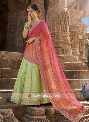 Pista Green Embellished Lehenga Set