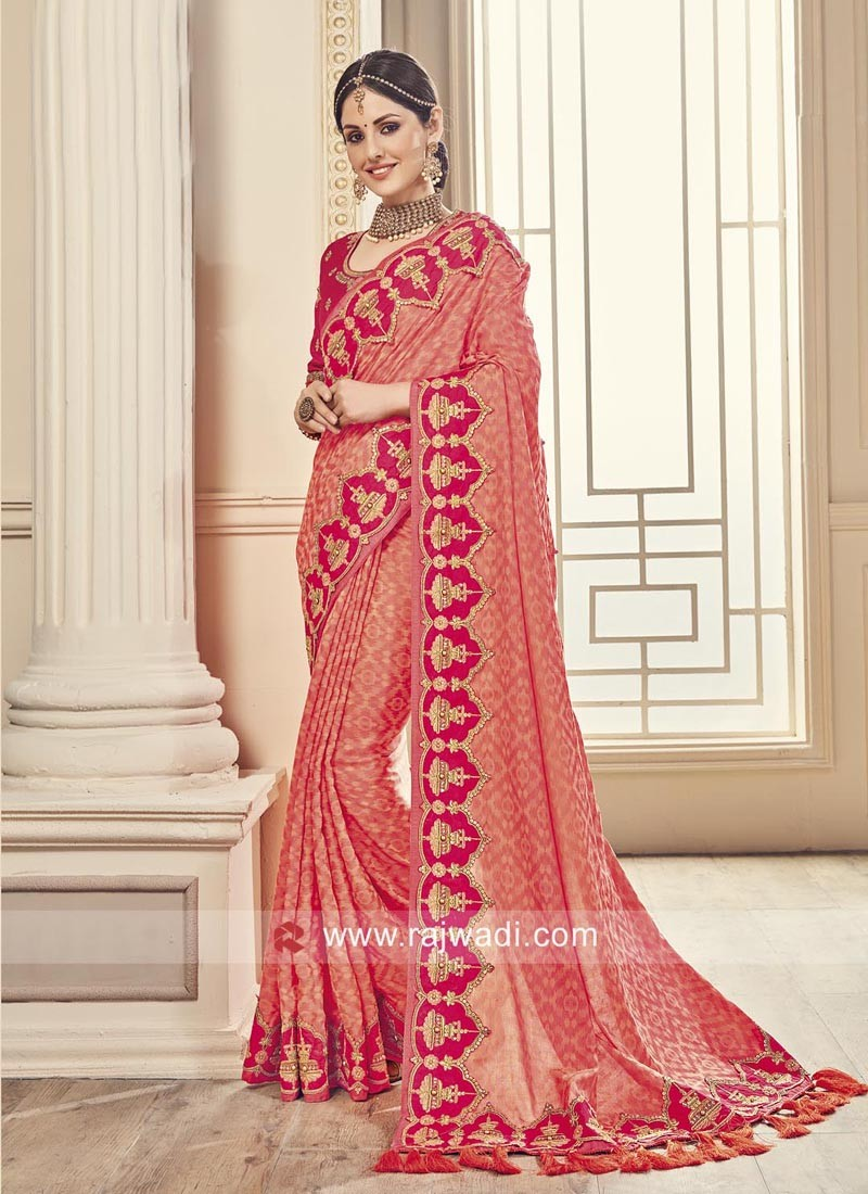 Peach Embroidered Border Work Sari