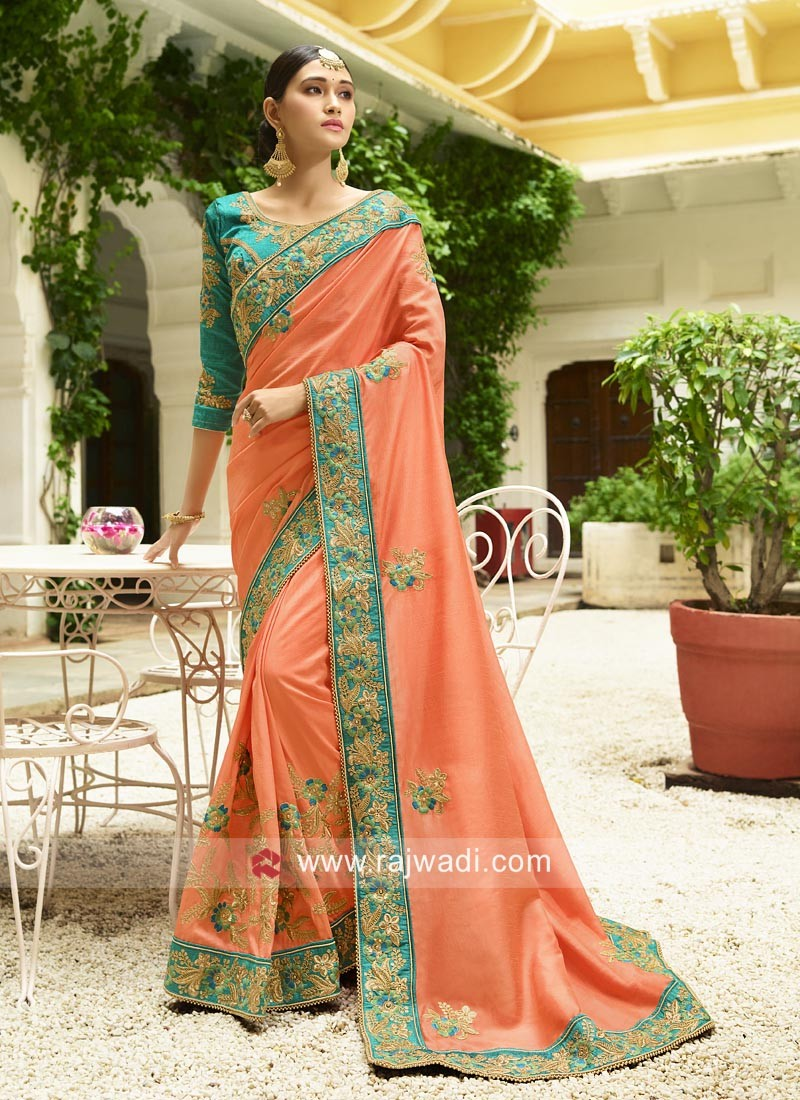 Peach Embroidered Saree with Contrast Border