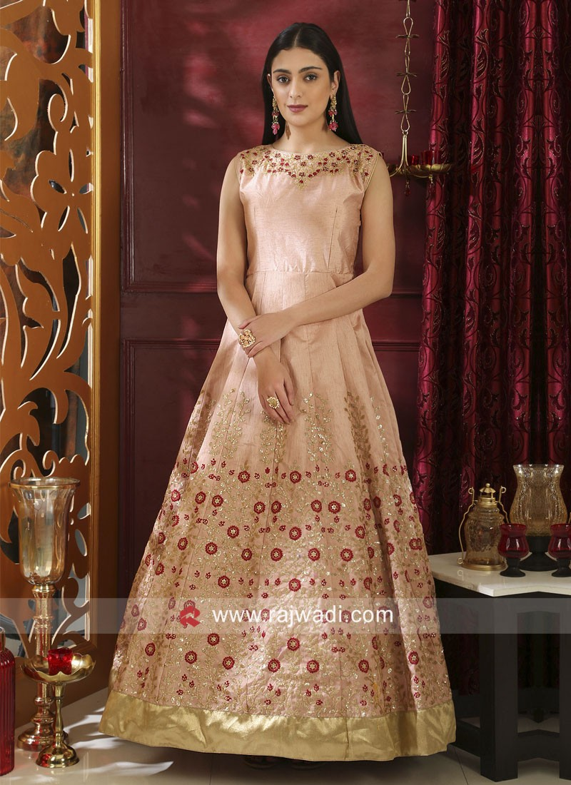 Semi Stitched Peach Embroidered Silk Gown