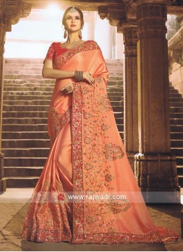 Peach Embroidered Work Saree