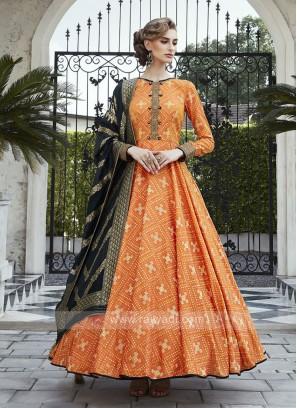 Peach Floor Length Anarkali Suit