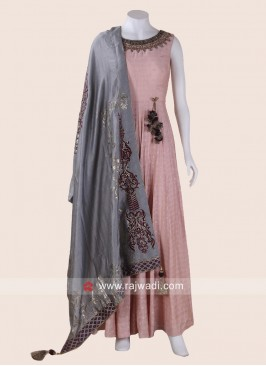 Peach Floor Length Anarkali with Grey Dupatta
