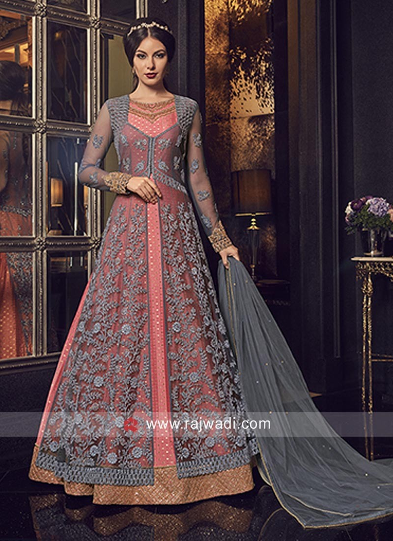 Peach Floor Length Salwar Suit with Grey Long Jacket