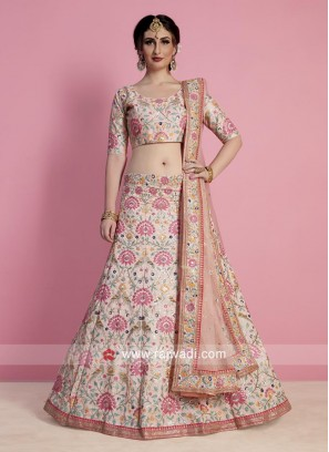 Peach Flower Embroidered Lehenga
