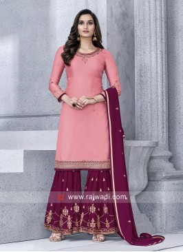 Peach Gharara Suit with Dupatta