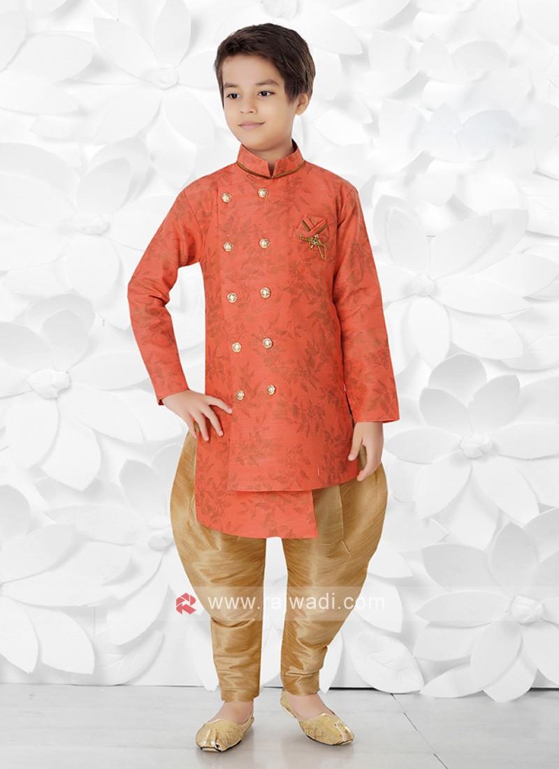 Orange & Golden Indo Western For Boys