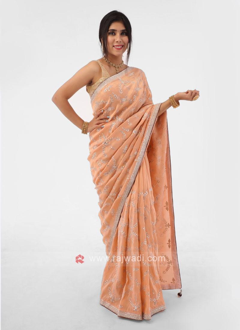 Peach Gota Patti Shimmer Silk Saree With Contrast Blouse