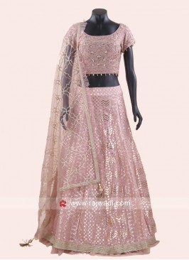 Peach Gota Patti Work Lehenga Choli