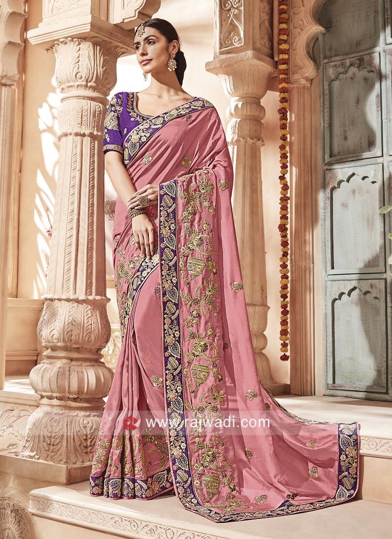 Peach Heavy Embroidered Saree
