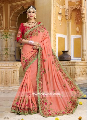 Peach Heavy Embroidered Saree