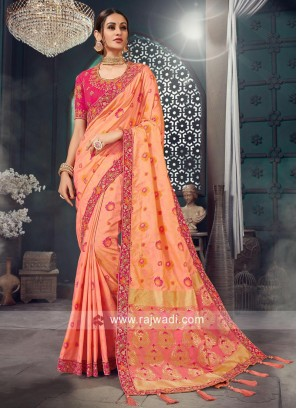 Peach Heavy Embroidered Tassels Saree
