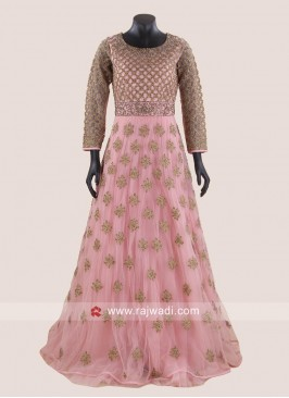 Peach Heavy Work Floor Length Gown