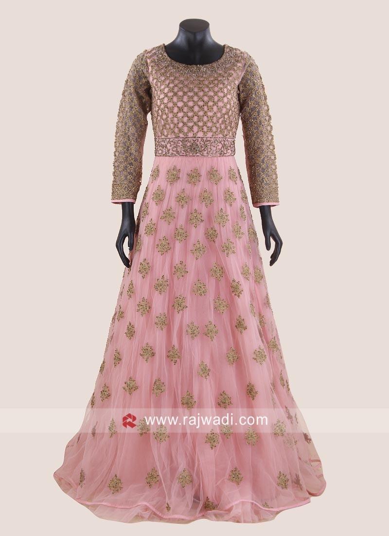 Peach Heavy Work Floor Length Gown