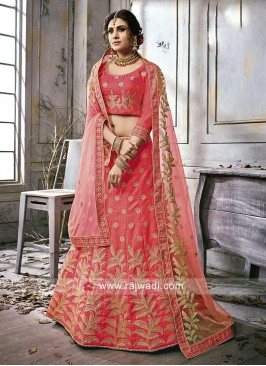 Peach Heavy Work Lehenga Choli