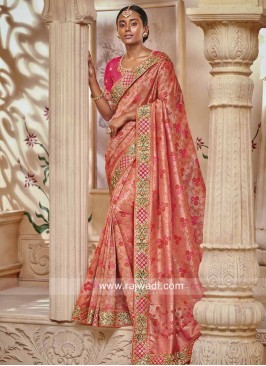 Peach Heavy Work Saree