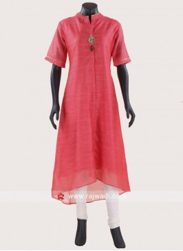 Peach High Low Kurti