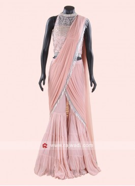 Peach Indo Western Choli Suit