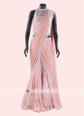 Peach Indo Western Choli Suit