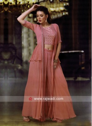 Peach Jacket Style Palazzo Suit