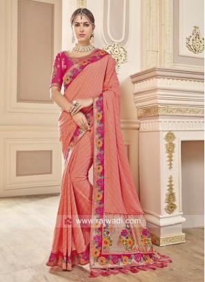 Peach Jacquard Silk Sari