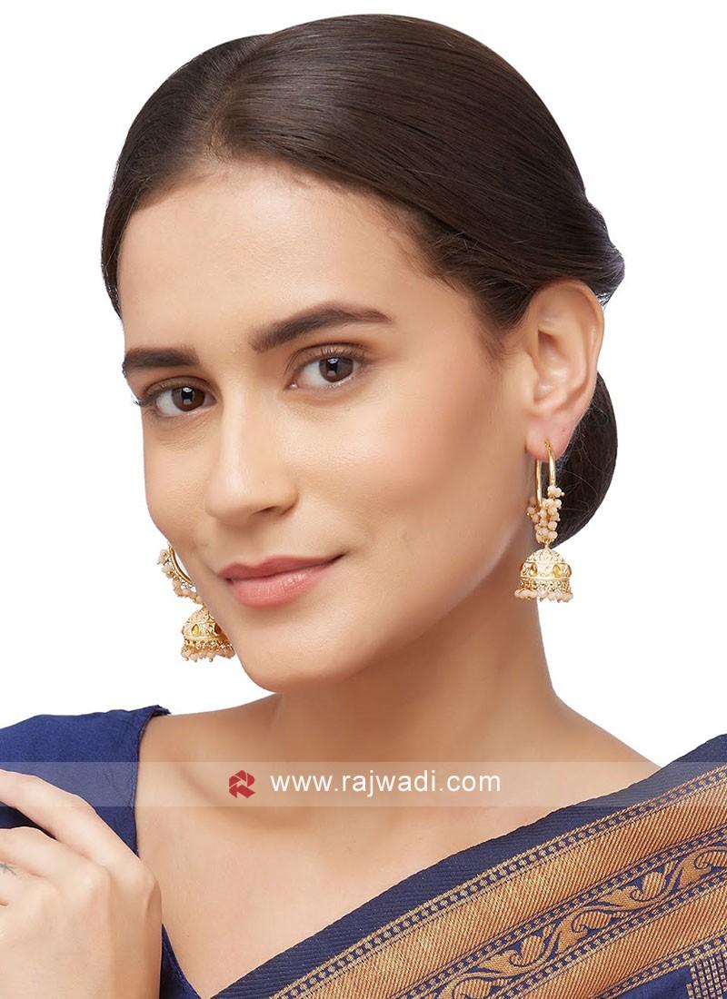 Peach Jhumka Hoop Earrings
