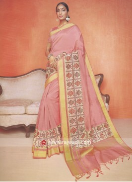 Peach Kota Cotton Silk Saree