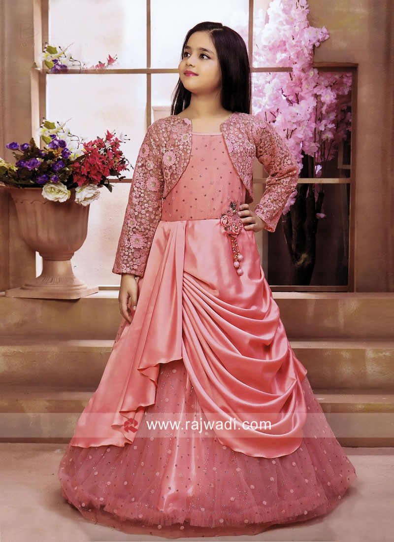 Peach Layer Gown for Girls
