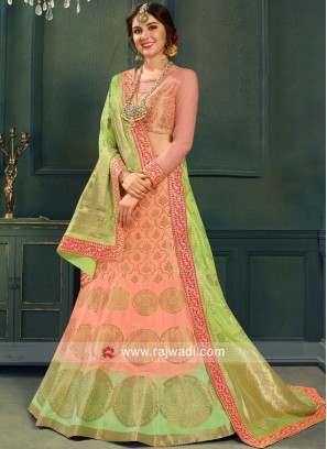 Peach Lehenga Choli with Parrot Green Dupatta
