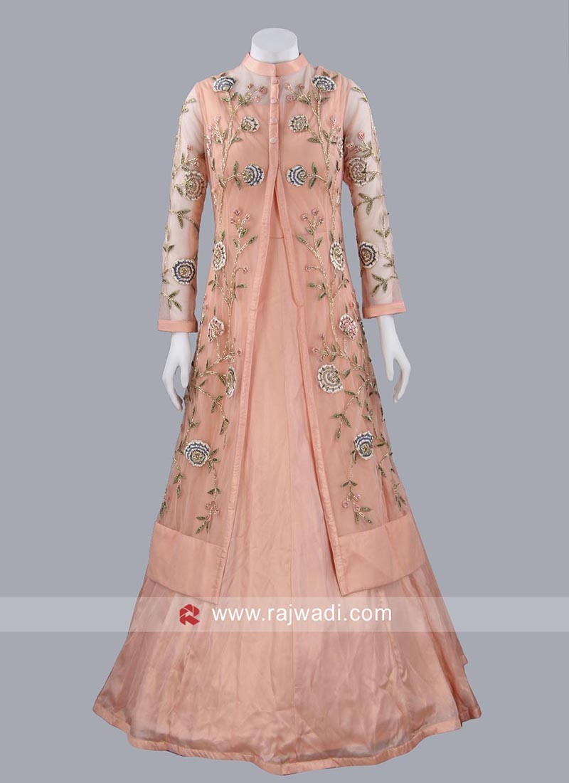 Peach Long Gown with Designer Koti