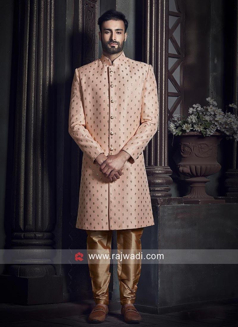 Peach Long Sleeves Indo Western