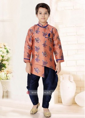 Peach & Navy Indo Western For Boys