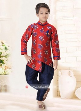 Red & Navy Indo Western For Boys