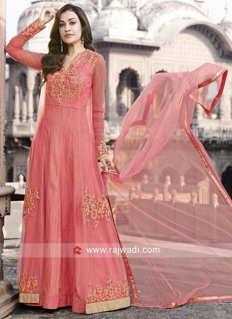 Peach Net and Textured Salwar Kameez