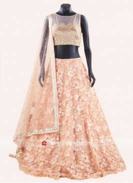 Peach Net Embroidered Lehenga