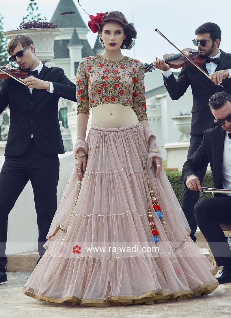 Peach Net Embroidered Lehenga Set