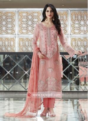 Peach Net Fabric Salwar Suit